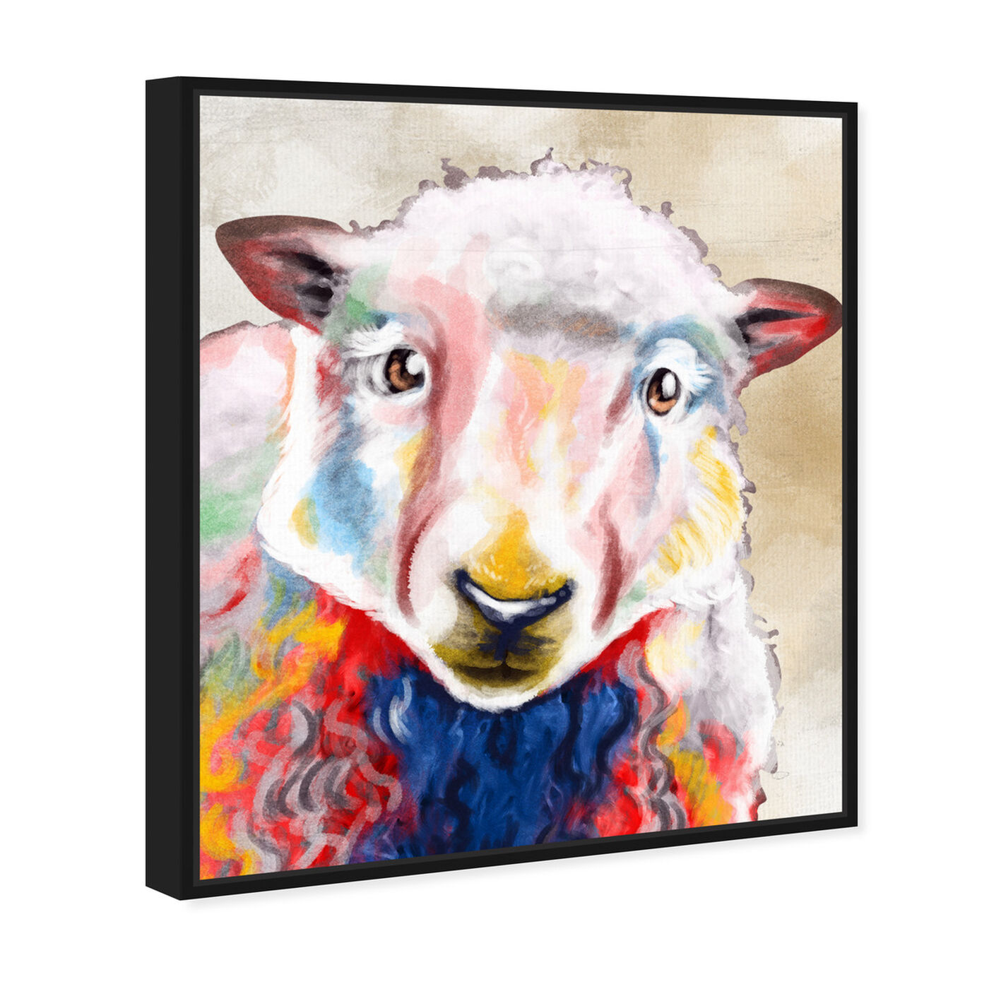 Angled view of Color Splash Sheep featuring animals and farm animals art.