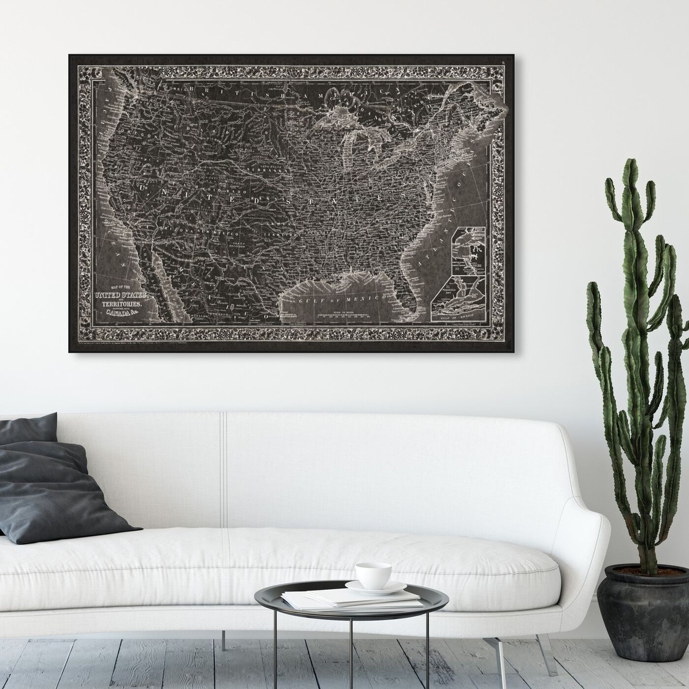 Hanging view of United States of America Map 1864 featuring maps and flags and american countries maps art.