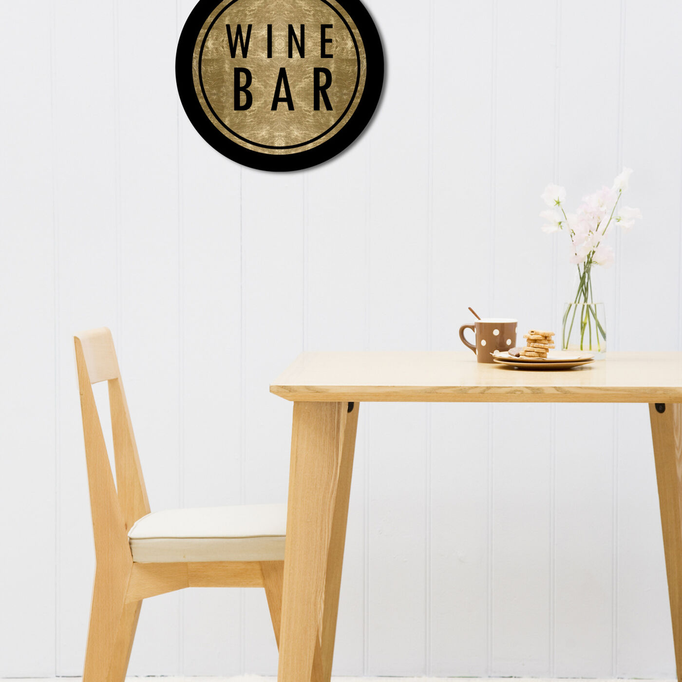 Hanging view of Vintage Winebar Circle featuring drinks and spirits and wine art.