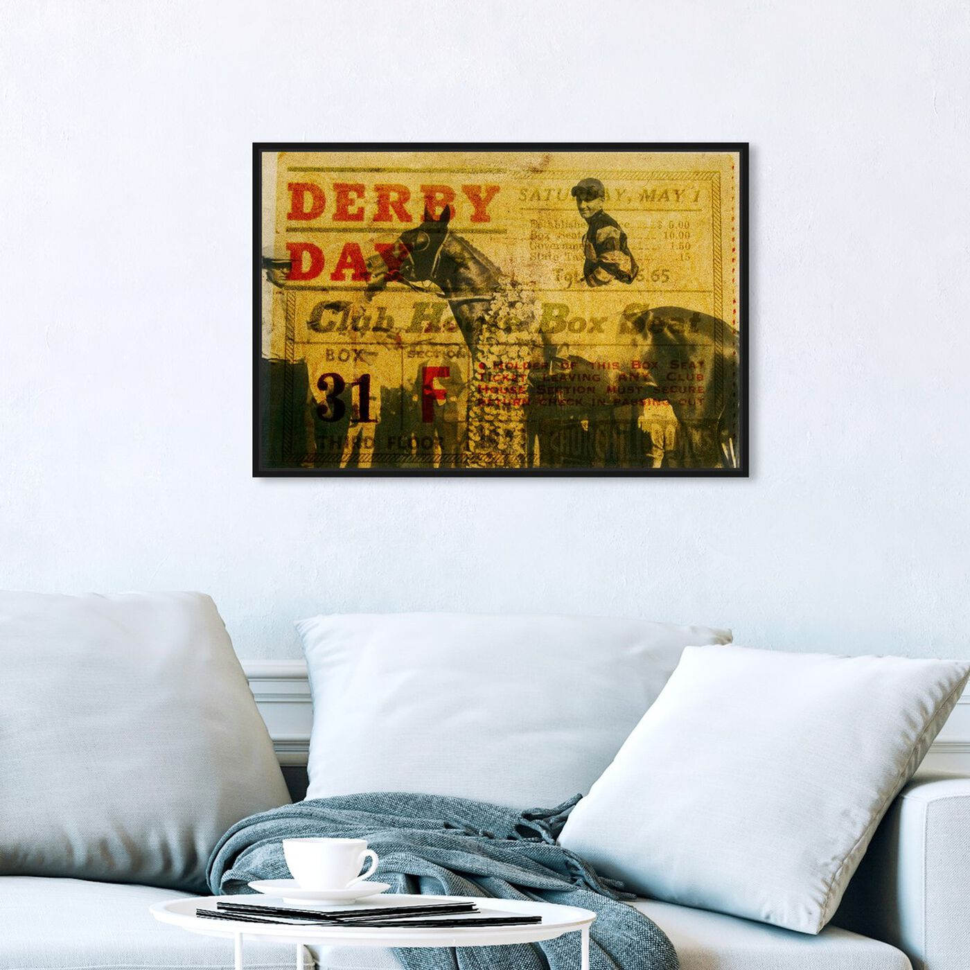 Hanging view of Derby Day 1943 featuring advertising and posters art.