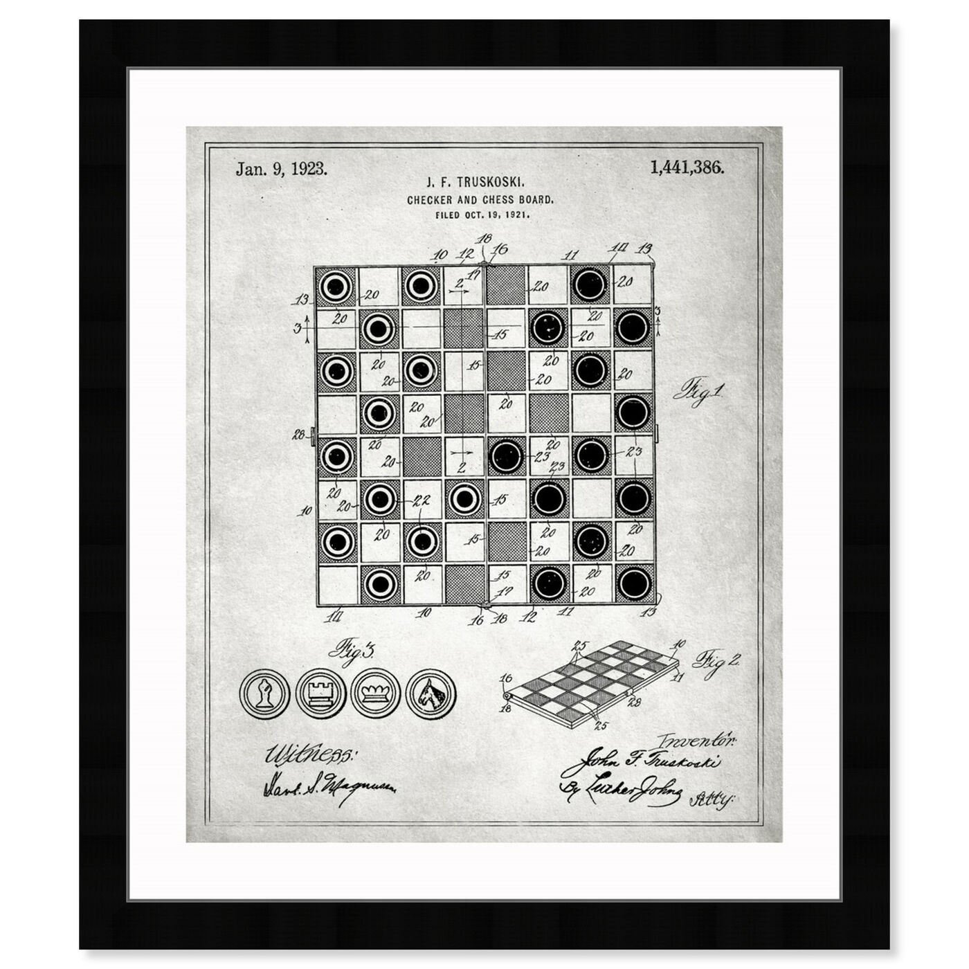 Front view of Checker And Chess Board 1923 featuring entertainment and hobbies and board games art.
