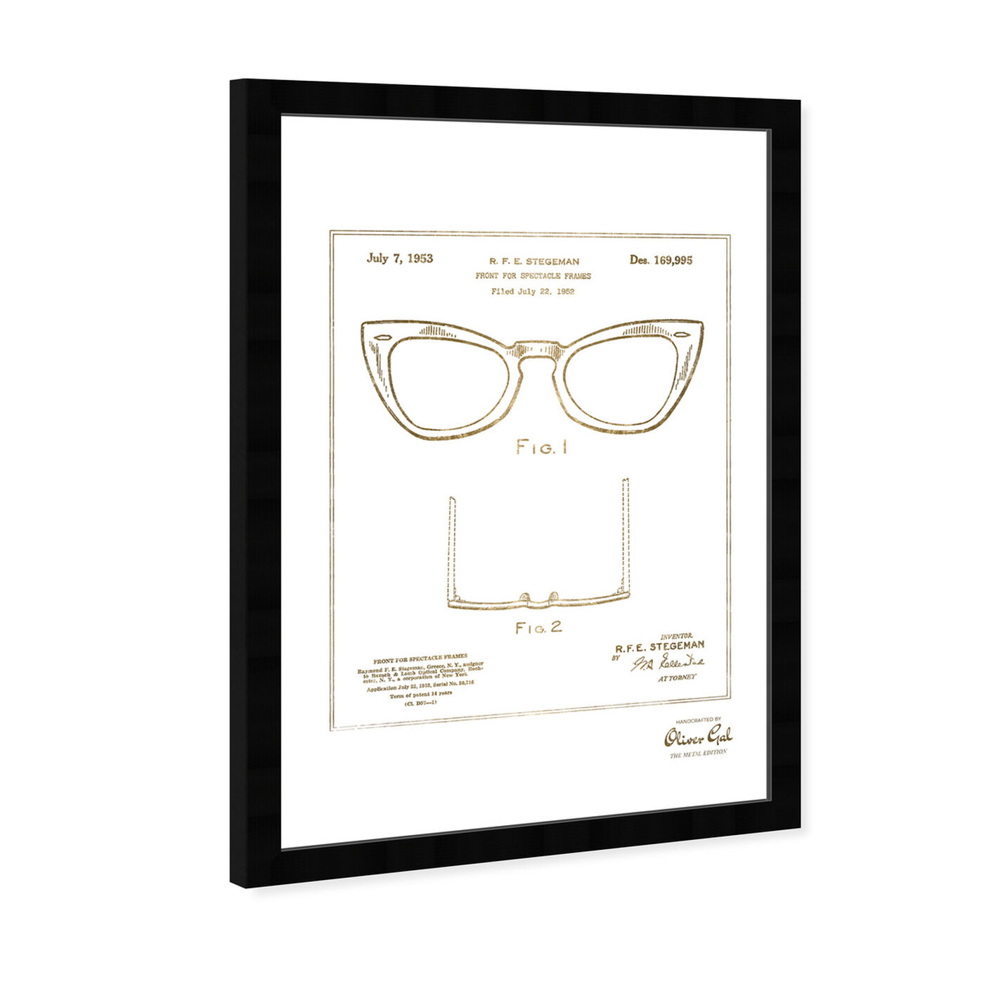 Angled view of Ray-Ban Wayfarer SPECTACLE FRAMES 1953 Gold featuring fashion and glam and accessories art.