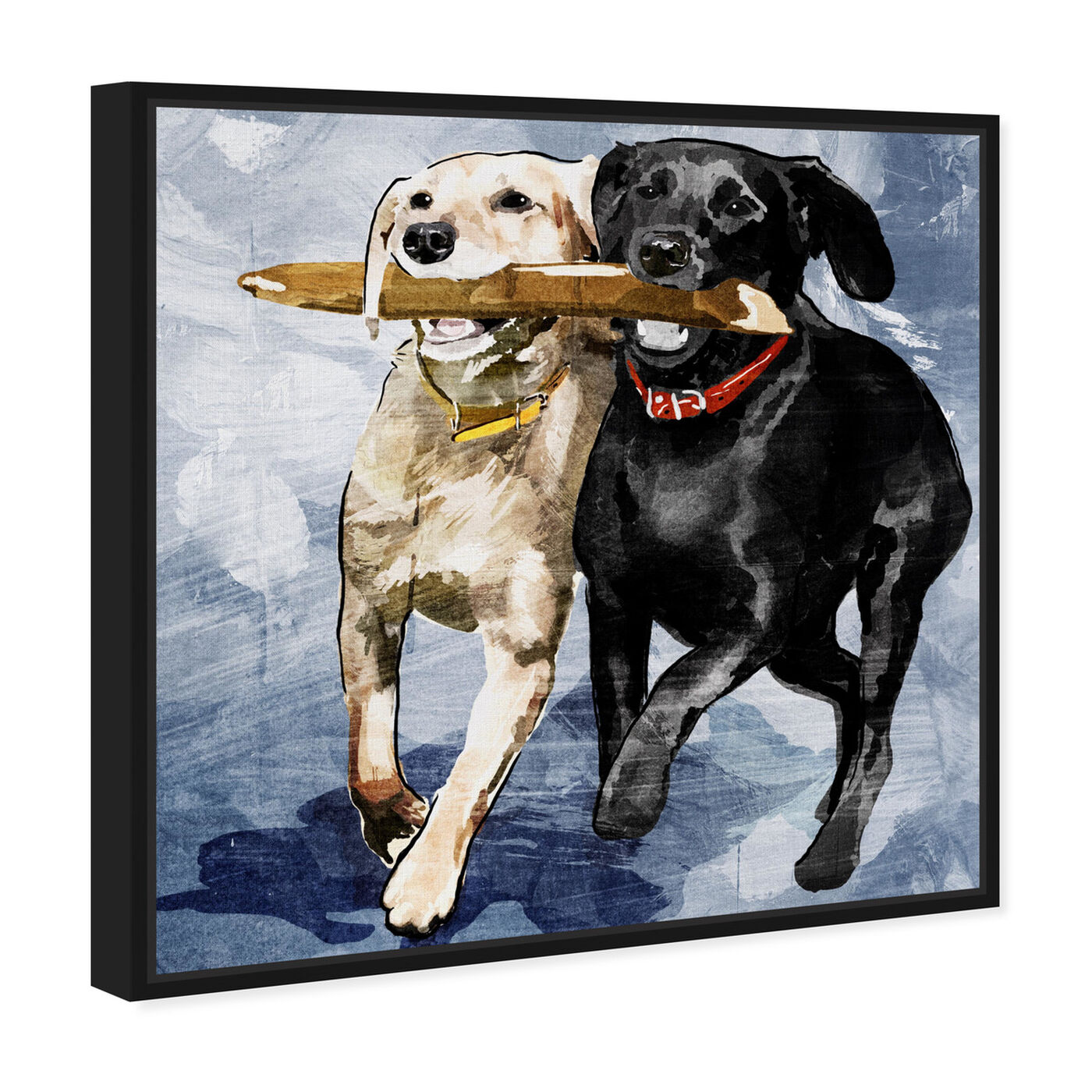 Angled view of Playtime Blue featuring animals and dogs and puppies art.
