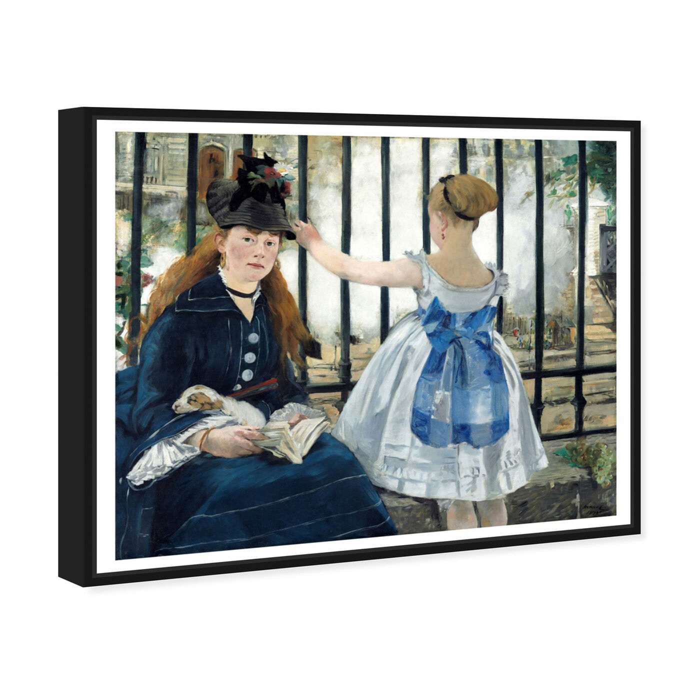 Angled view of Manet - Le Chemin De Fer featuring classic and figurative and classical figures art.