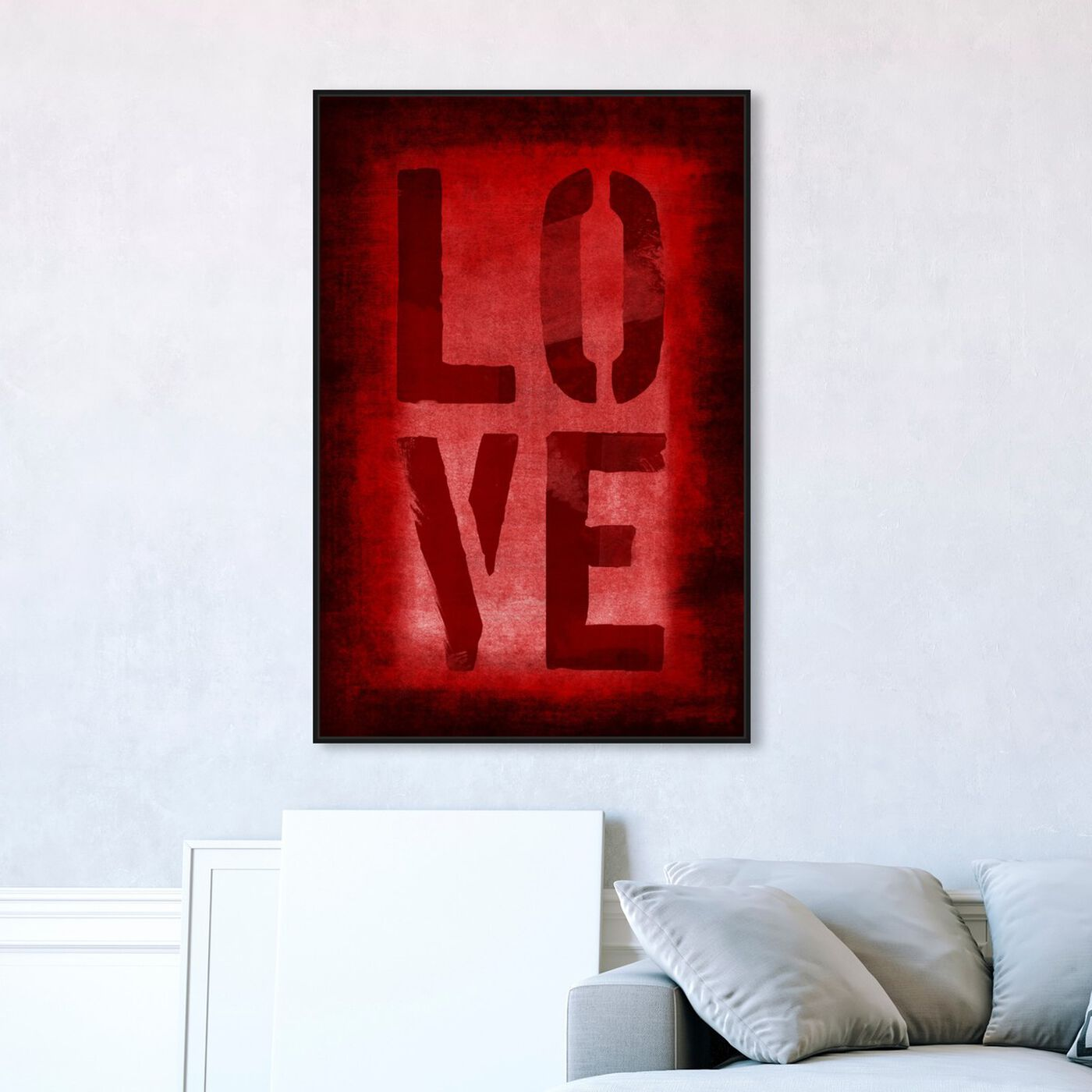 Hanging view of Four Red Letters featuring typography and quotes and love quotes and sayings art.