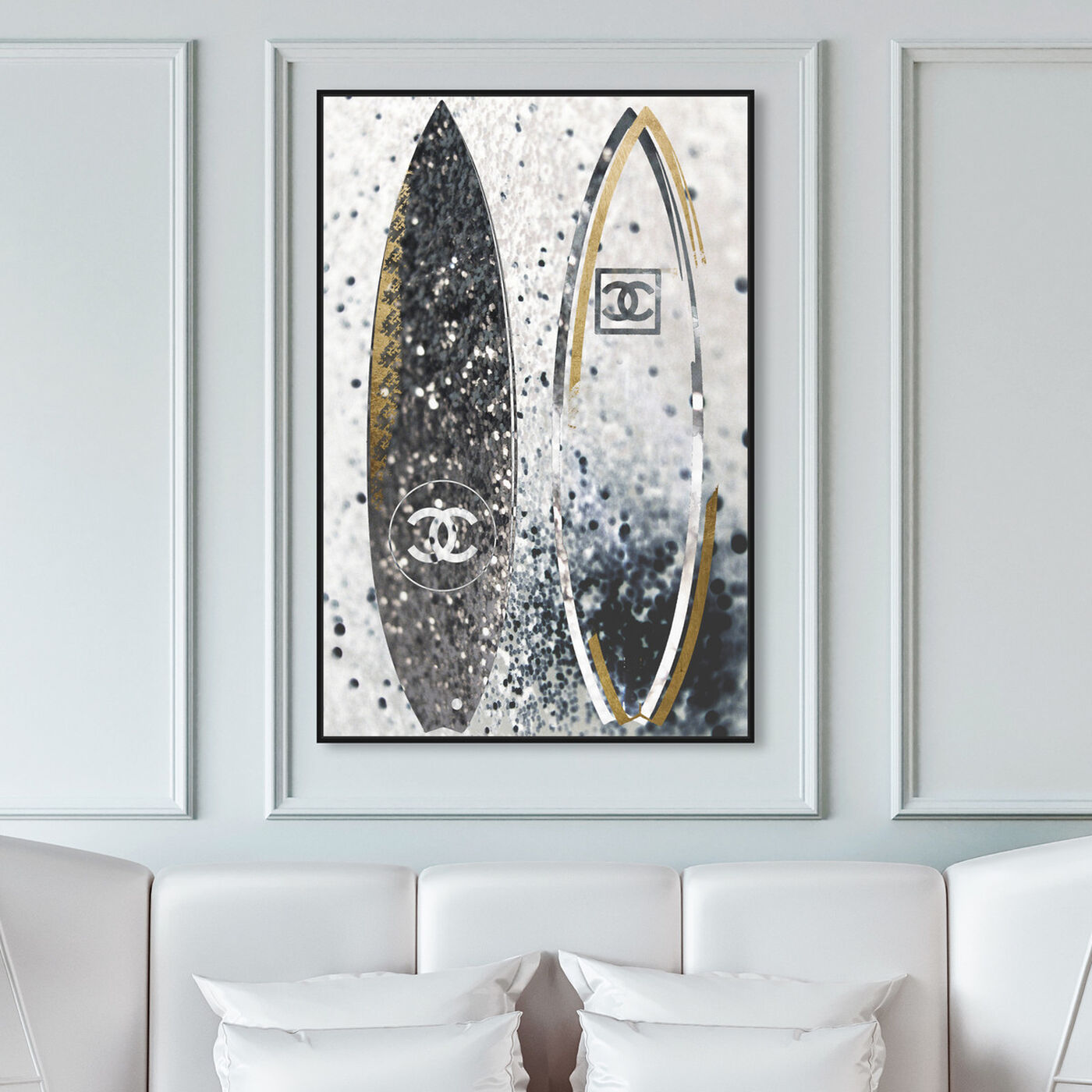 Hanging view of Surfing Duo Coco featuring fashion and glam and lifestyle art.