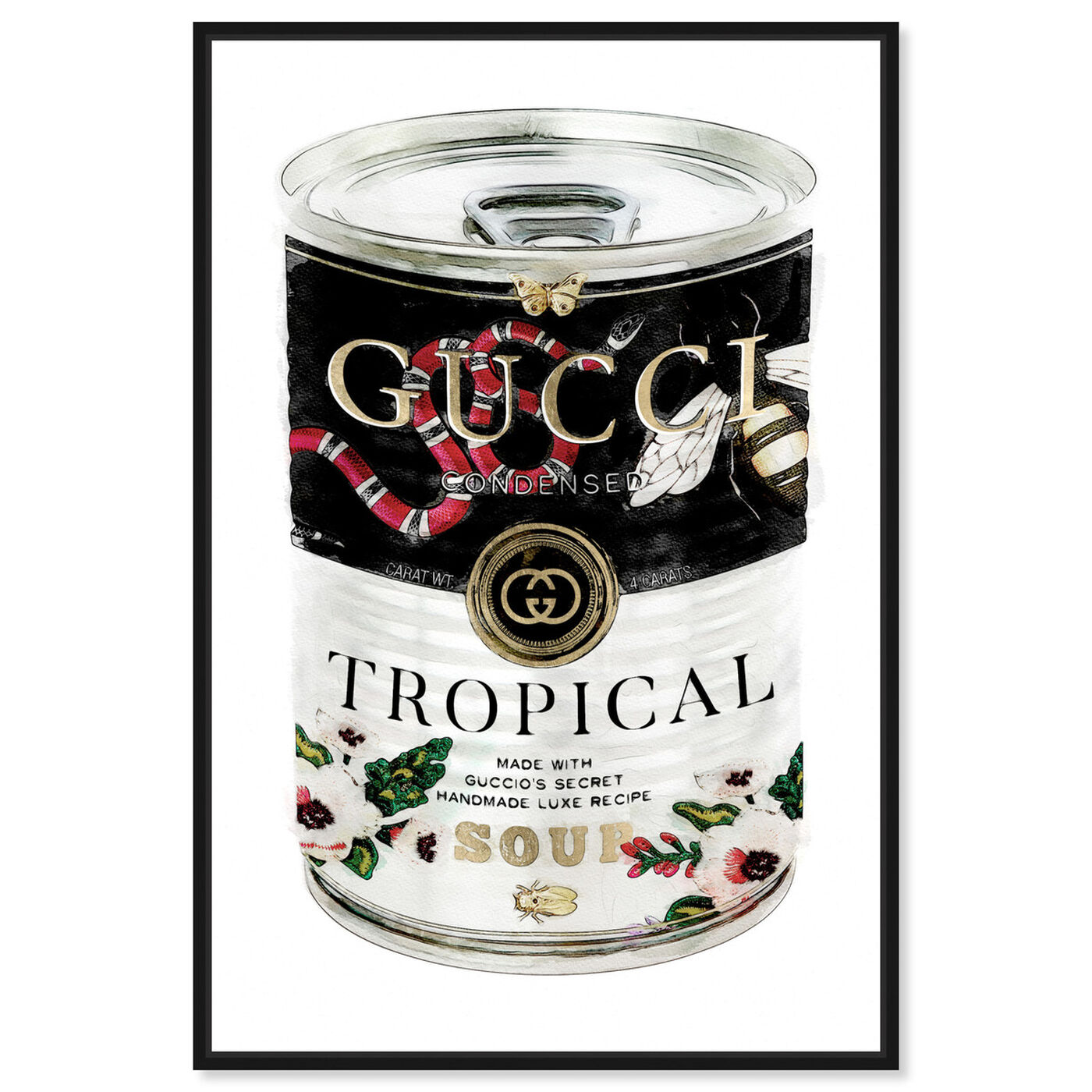 Front view of Italian Luxe Soup featuring fashion and glam and soup can art.