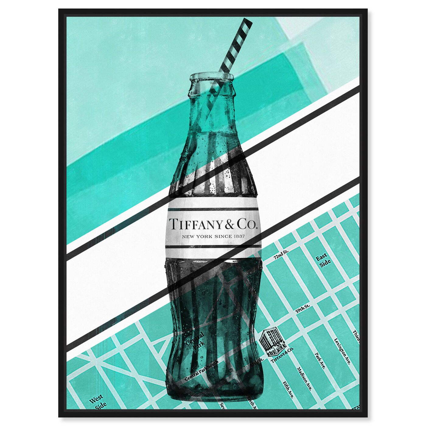 Front view of NYC Soda Bottle featuring drinks and spirits and soda art.