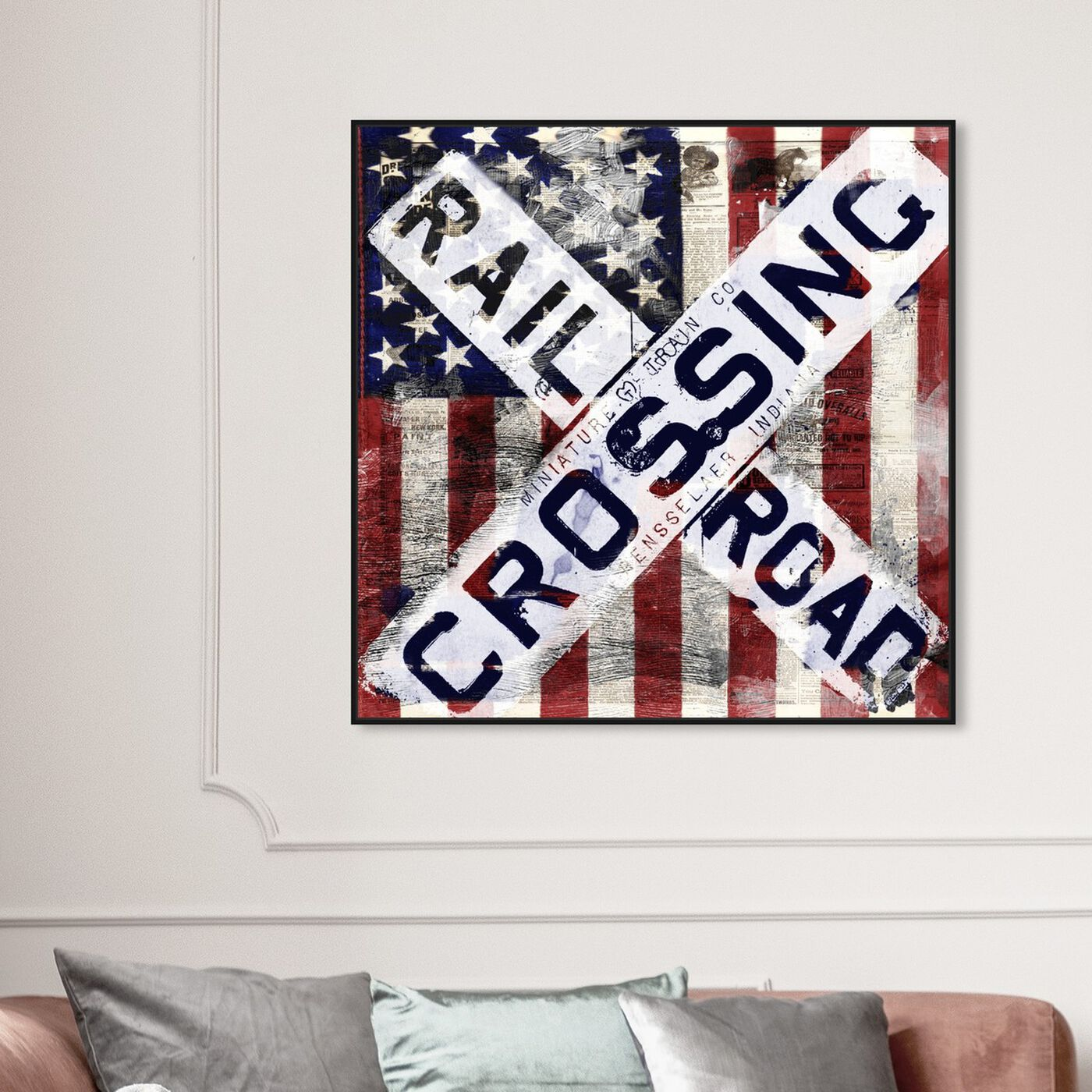 Hanging view of Railroad Crossing featuring americana and patriotic and us flags art.